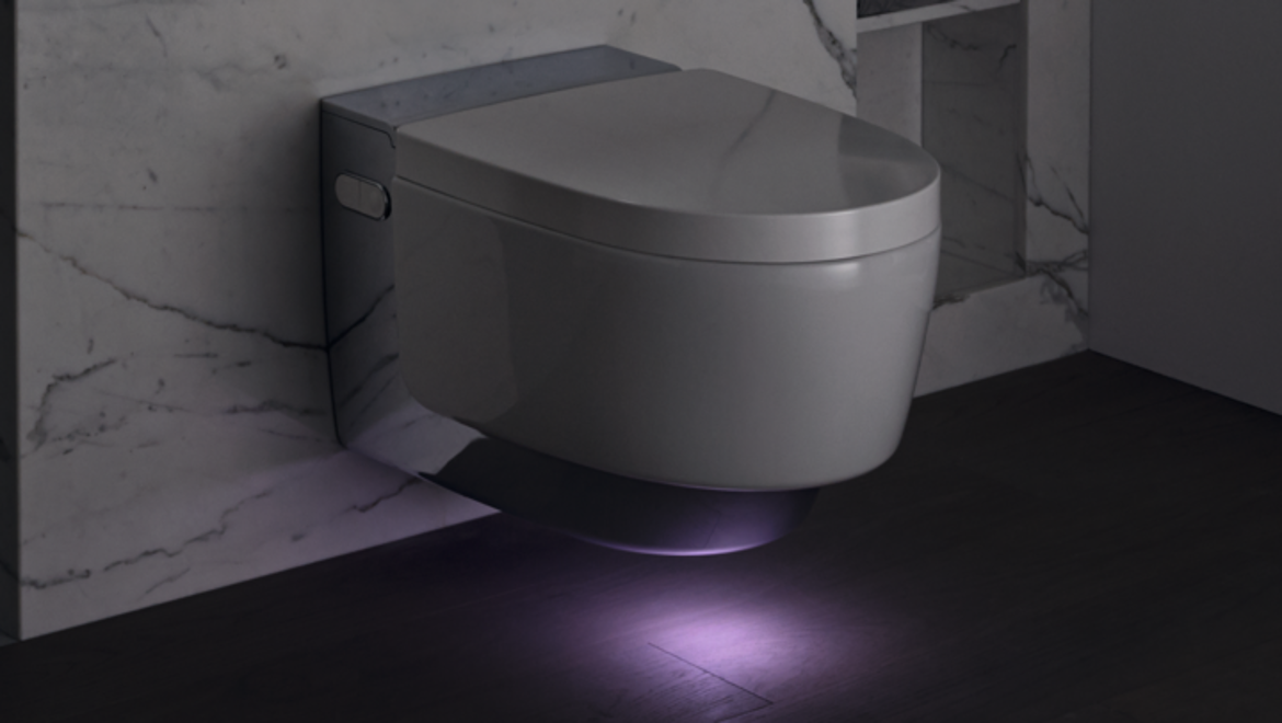 Geberit AquaClean Mera in Chrome with orientation light