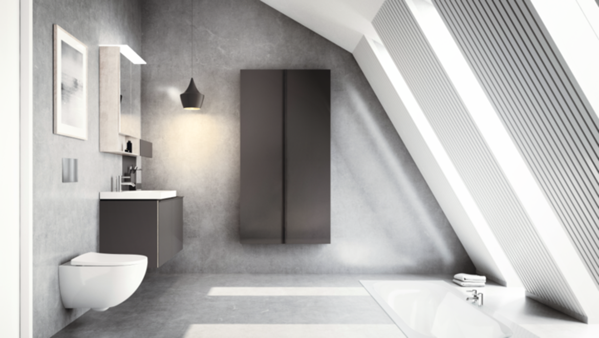 Geberit Acanto wall-hung toilet and wall-hung furniture solutions