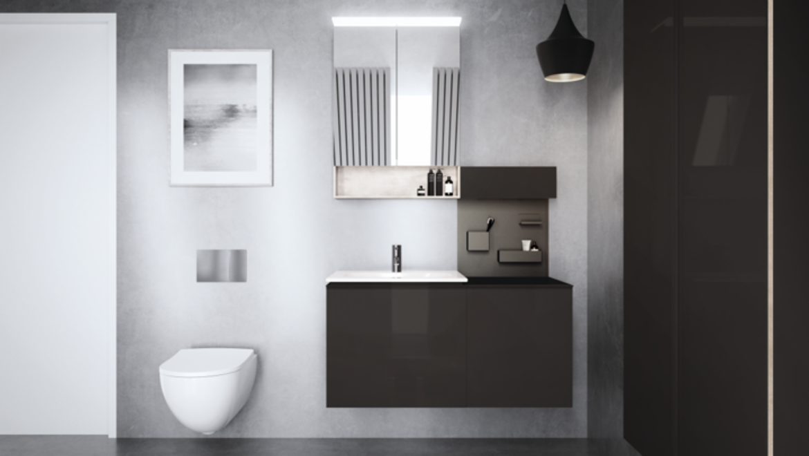 Geberit Acanto Wall-hung Toilet and Furniture in Family Bathroom